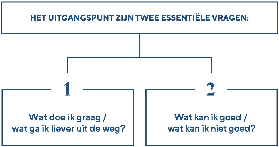 Het uitgangspunt zijn twee essentiële vragen: 1) wat doe ik graag / wat ga ik liever uit de weg? en 2) wat kan ik goed / wat kan ik niet goed?